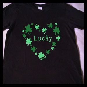 Handcrafted vinyl print st Patrick's day tee